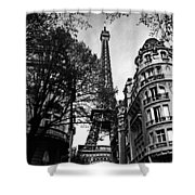 Eiffel Tower Black And White Shower Curtain by Andrew Fare