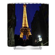 Eiffel Tower Paris France At Night Shower Curtain by Patricia Awapara