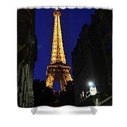 Eiffel Tower Paris France at Night Shower Curtain by Patricia Awapara
