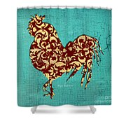 Elegant Decorative Kitchen Art Damask Rooster Pattern Shower Curtain by Megan Duncanson