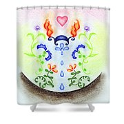 Elements Shower Curtain by Keiko Katsuta