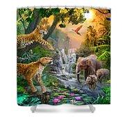 Elephant Falls Shower Curtain by Jan Patrik Krasny