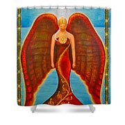 Emeliah Angel Of Inner Journeys Shower Curtain by Kevin Chasing Wolf Hutchins