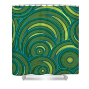 Emerald Green Abstract Shower Curtain by Frank Tschakert