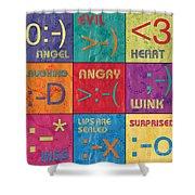 Emoticons Patch Shower Curtain by Debbie DeWitt
