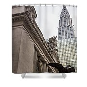 Empire State Building And Grand Central Station Shower Curtain by For Ninety One Days