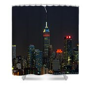 Empire State Building Lightning Strike I Shower Curtain by Clarence Holmes