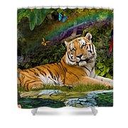 Enchaned Tigress Shower Curtain by Alixandra Mullins