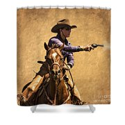 End Of Trail 2012 Mounted Shooting Shower Curtain by Priscilla Burgers