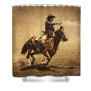 End Of Trail Mounted Shooting Shower Curtain by Priscilla Burgers
