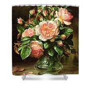 English Elegance Roses in a Glass Shower Curtain by Albert Williams