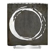 Enso No. 107 Gray Brown Shower Curtain by Julie Niemela