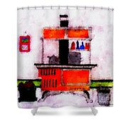 Enterprise Woodstove Shower Curtain by Barbara Griffin