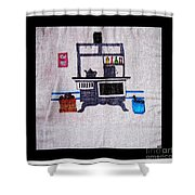 Enterprise Woodstove - Grey Shower Curtain by Barbara Griffin