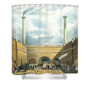 Entrance Of The Railway At Edge Hill Shower Curtain by Thomas Talbot Bury