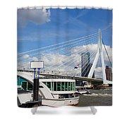 Erasmus Bridge in Rotterdam City Downtown Shower Curtain by Artur Bogacki
