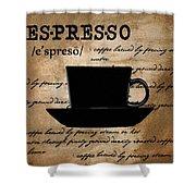 Espresso Madness Shower Curtain by Lourry Legarde