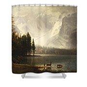 Estes Park Colorado Whytes Lake Shower Curtain by Albert Bierstadt
