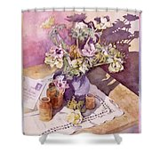Evening Anemones Shower Curtain by Julia Rowntree