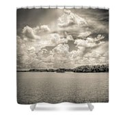 Everglades Lake 6919 Bw Shower Curtain by Rudy Umans