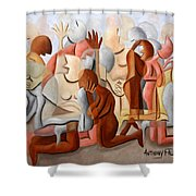 Every Knee Shall Bend Every Mouth Shall Confess Jesus Is Lord Shower Curtain by Anthony Falbo