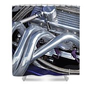 Exhaust Manifold Hot Rod Engine Bay Shower Curtain by Allen Beatty