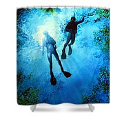 Exploring New Worlds Shower Curtain by Hanne Lore Koehler