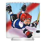 Eye On The Puck Shower Curtain by Derrick Higgins
