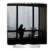 Eyes Down From The 103rd Floor Texting From The Top Of The World Shower Curtain by Thomas Woolworth