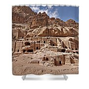 facade street in Nabataean ancient town Petra Shower Curtain by Juergen Ritterbach