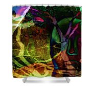 Face In The Rock Moon Glow And Night Vision Shower Curtain by Elizabeth McTaggart