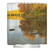 Fall Colors On Taylor Pond Mount Vernon Maine Shower Curtain by Keith Webber Jr