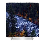 Fall Lined River Shower Curtain by Raymond Salani III