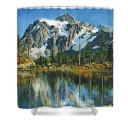 Fall Reflections - Cascade Mountains Shower Curtain by Mary Ellen Anderson