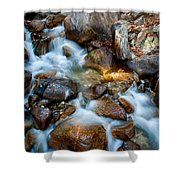 Falls And Rocks Shower Curtain by Cat Connor