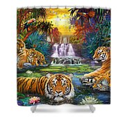 Family At The Jungle Pool Shower Curtain by Jan Patrik Krasny