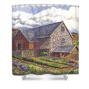 A Scottish Farm Pen Ink Wc Shower Curtain by Carol Wisniewski
