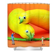 Family watching animals in zoo Shower Curtain by Paul Ge