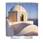 Famous Orthodox Church In Santorini Greece Shower Curtain by Matteo Colombo