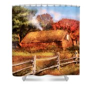 Farm - Barn - Our Cabin Shower Curtain by Mike Savad