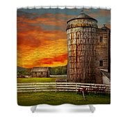 Farm - Barn - Welcome To The Farm  Shower Curtain by Mike Savad