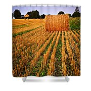Farm Field With Hay Bales At Sunset In Ontario Shower Curtain by Elena Elisseeva