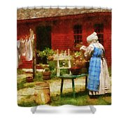 Farm - Laundry - Washing Clothes Shower Curtain by Mike Savad