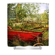 Farm - Tool - A Rusty Old Wagon Shower Curtain by Mike Savad