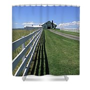 Farmhouse And Fence Shower Curtain by Frank Romeo