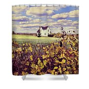Farmhouse And Grapevines Shower Curtain by Jill Battaglia