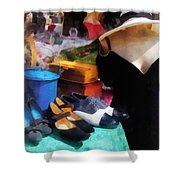 Fashion - Clothing For Sale At Flea Market Shower Curtain by Susan Savad