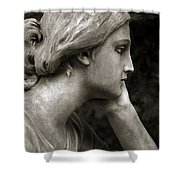 Female Angel Face Closeup - Female Angelic Face Portrait Shower Curtain by Kathy Fornal