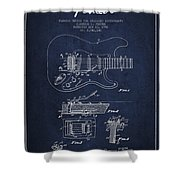 Fender Tremolo Device Patent Drawing From 1956 Shower Curtain by Aged Pixel