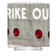 Fenway Park Strike - Out Scoreboard  Shower Curtain by Susan Candelario
